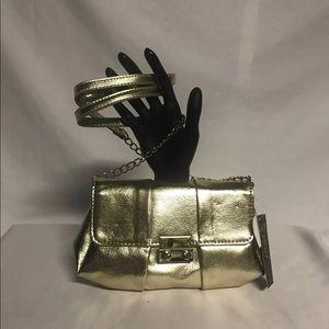 Handbags - NWT Gold Clutch Shoulder Bag